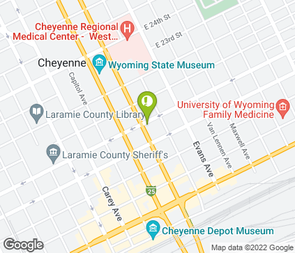 Map of 1921 Warren Ave in Cheyenne