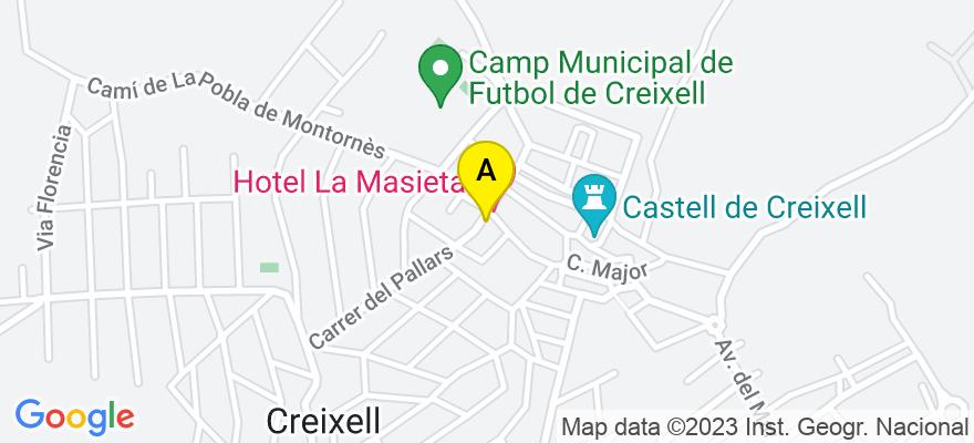 situacion en el mapa de . Direccion: Avenida Doctor Pujol 14, 43839 Creixell. Tarragona