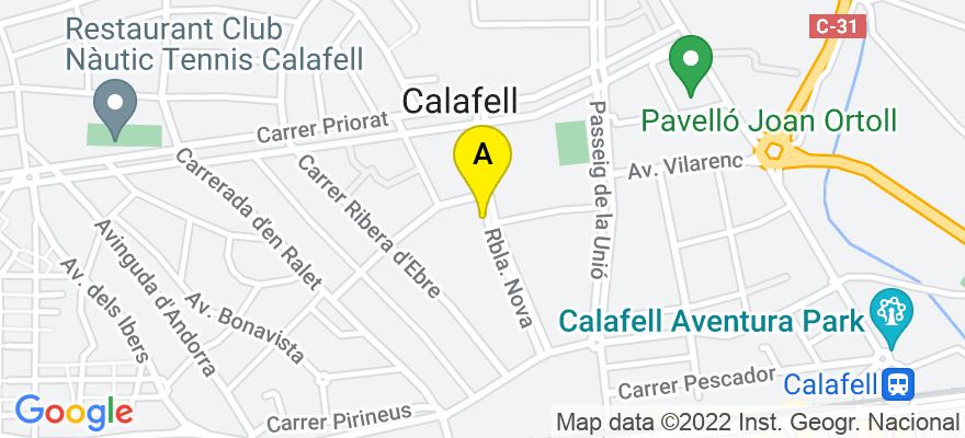 situacion en el mapa de . Direccion: Rambla Nova Nº 23, escalera 12, 1º, 3º, 43820 Calafell. Tarragona