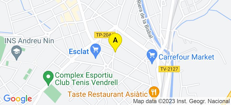 situacion en el mapa de . Direccion: Cami Reial nº 17,  3º,  D7, 43700 El Vendrell. Tarragona