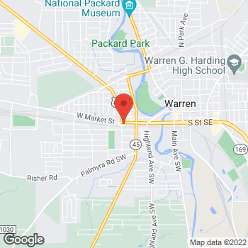 Map of Arby's at 1001 W Market St, Warren, OH 44481