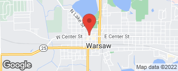 Map of 107 E Center St in Warsaw