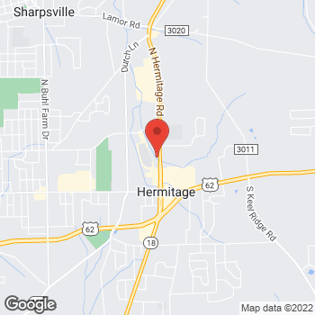 Map of Vern Chuba, DPM at 395 North Hermitage Road, Hermitage, PA 16148