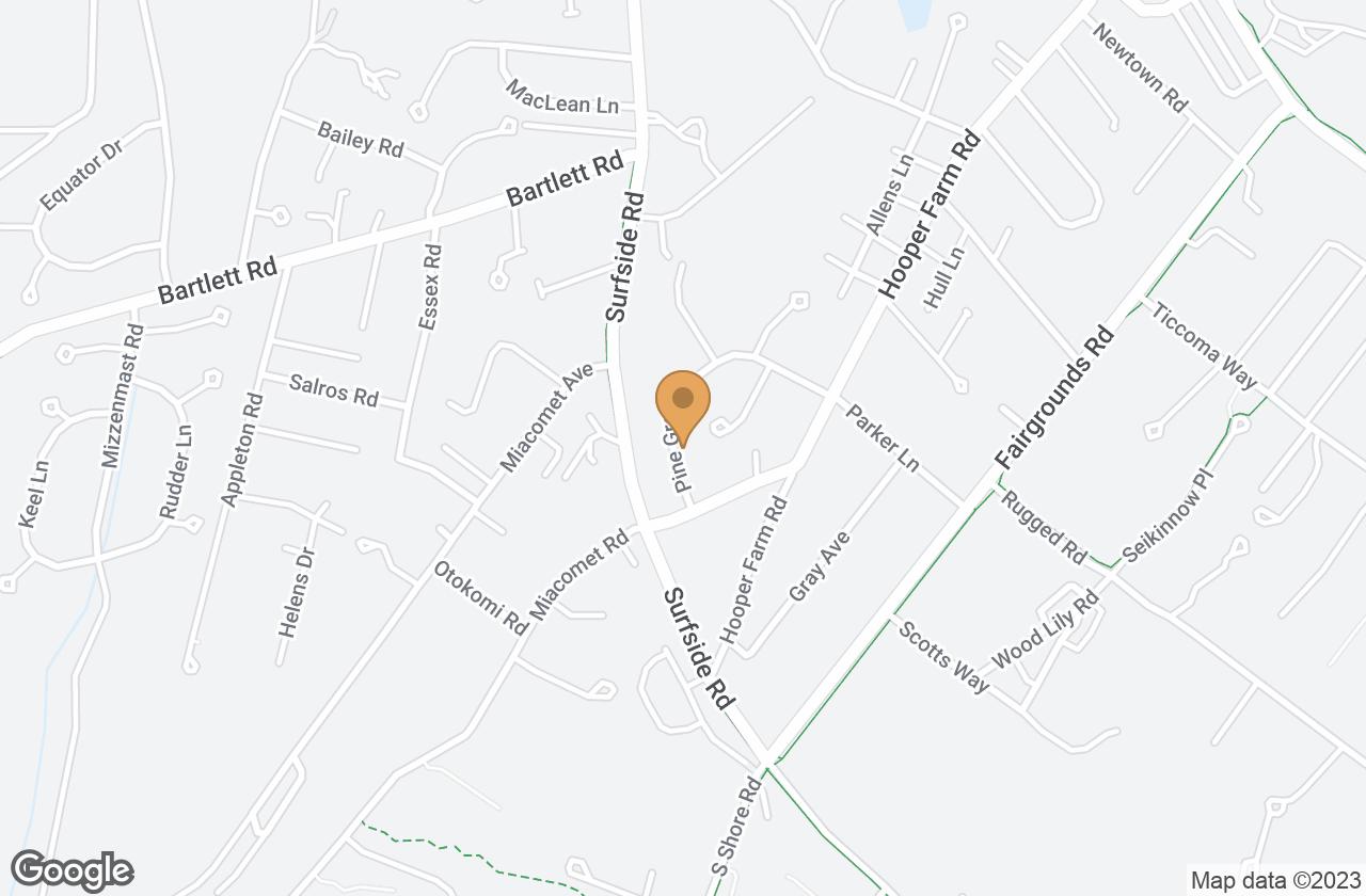 Google Map of 7 Pine Grove Road, Nantucket, MA, USA