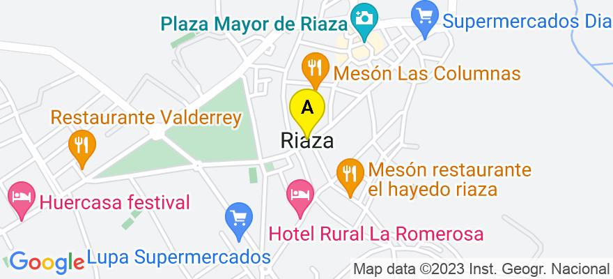 situacion en el mapa de . Direccion: c/ Cervantes 84 local derecha, 40500 Riaza. Segovia