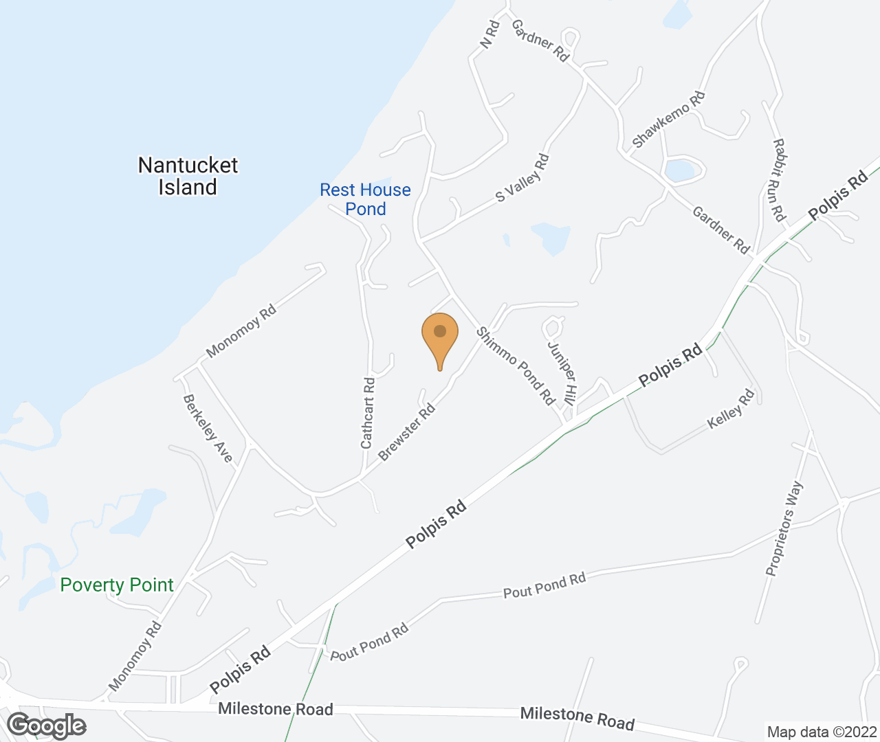 Google Map of 44 Brewster Road, Nantucket, MA, USA