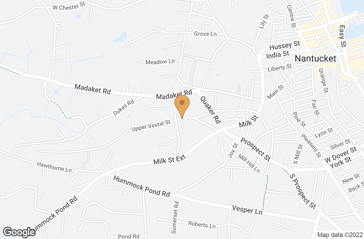 Google Map of 38 & 38A Vestal Street, Nantucket, MA, USA