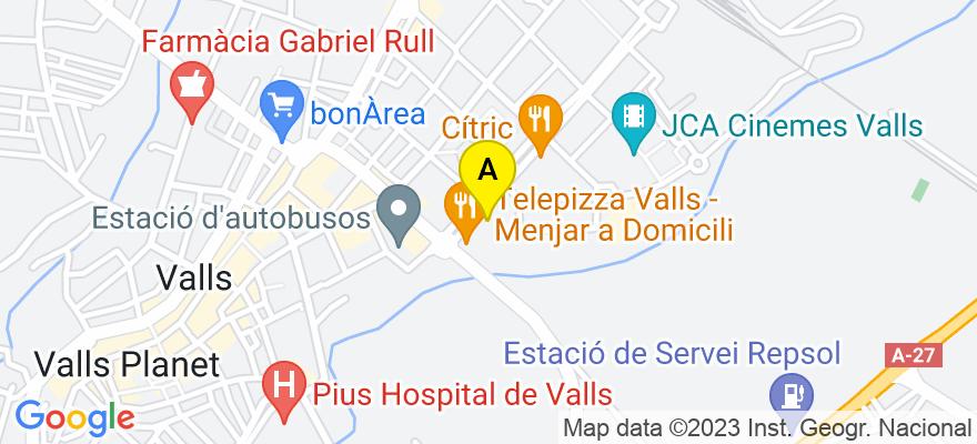 situacion en el mapa de . Direccion: Passeig de l'Estació núm. 33, 6è 2ª, 43800 Valls. Tarragona