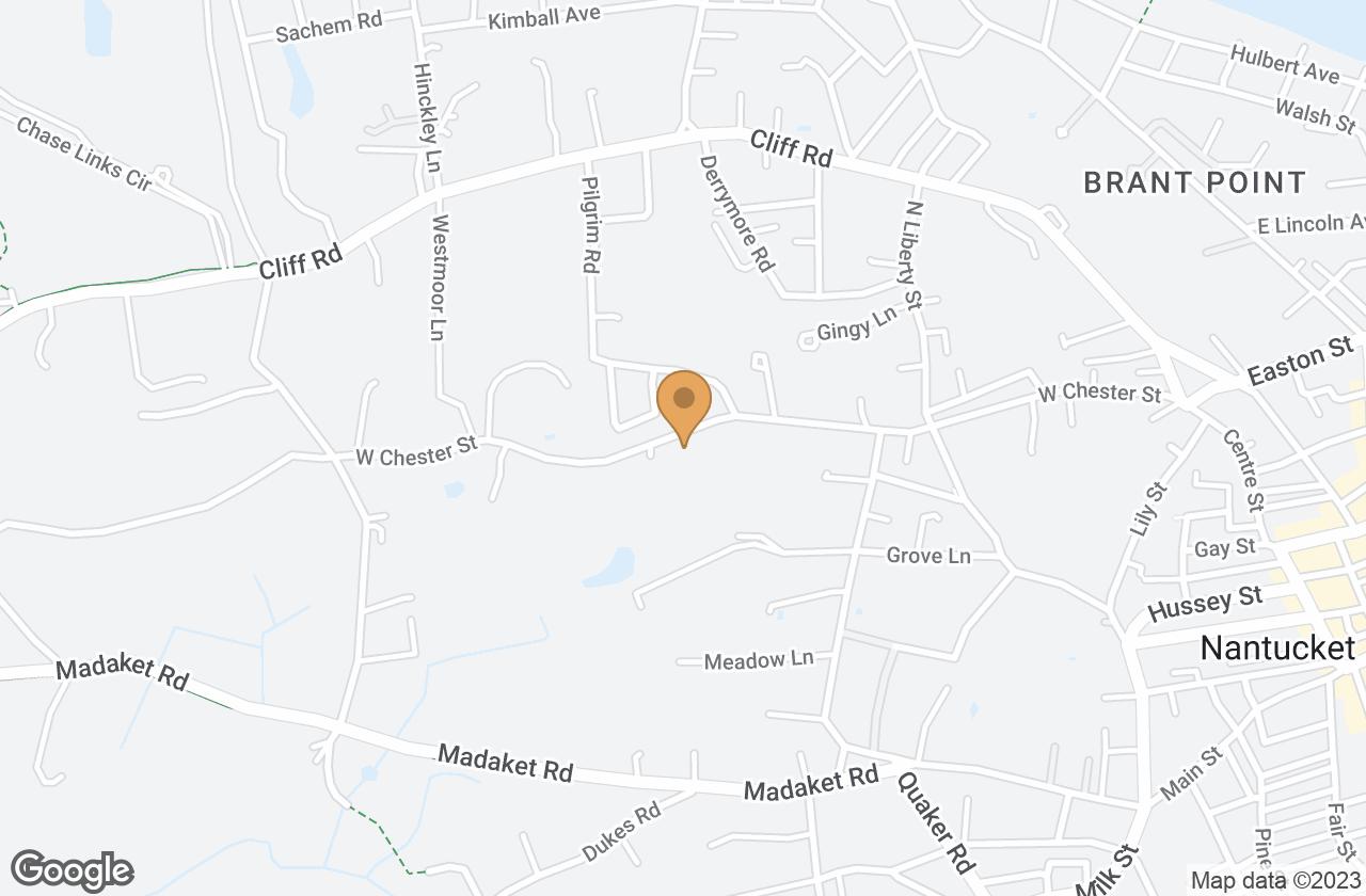 Google Map of 76 West Chester Street, Nantucket, MA, USA