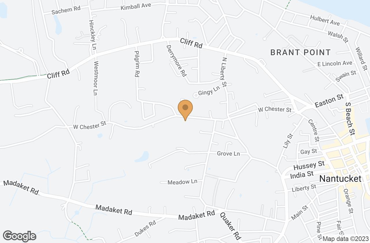 Google Map of 62 West Chester Street, Nantucket, MA, USA