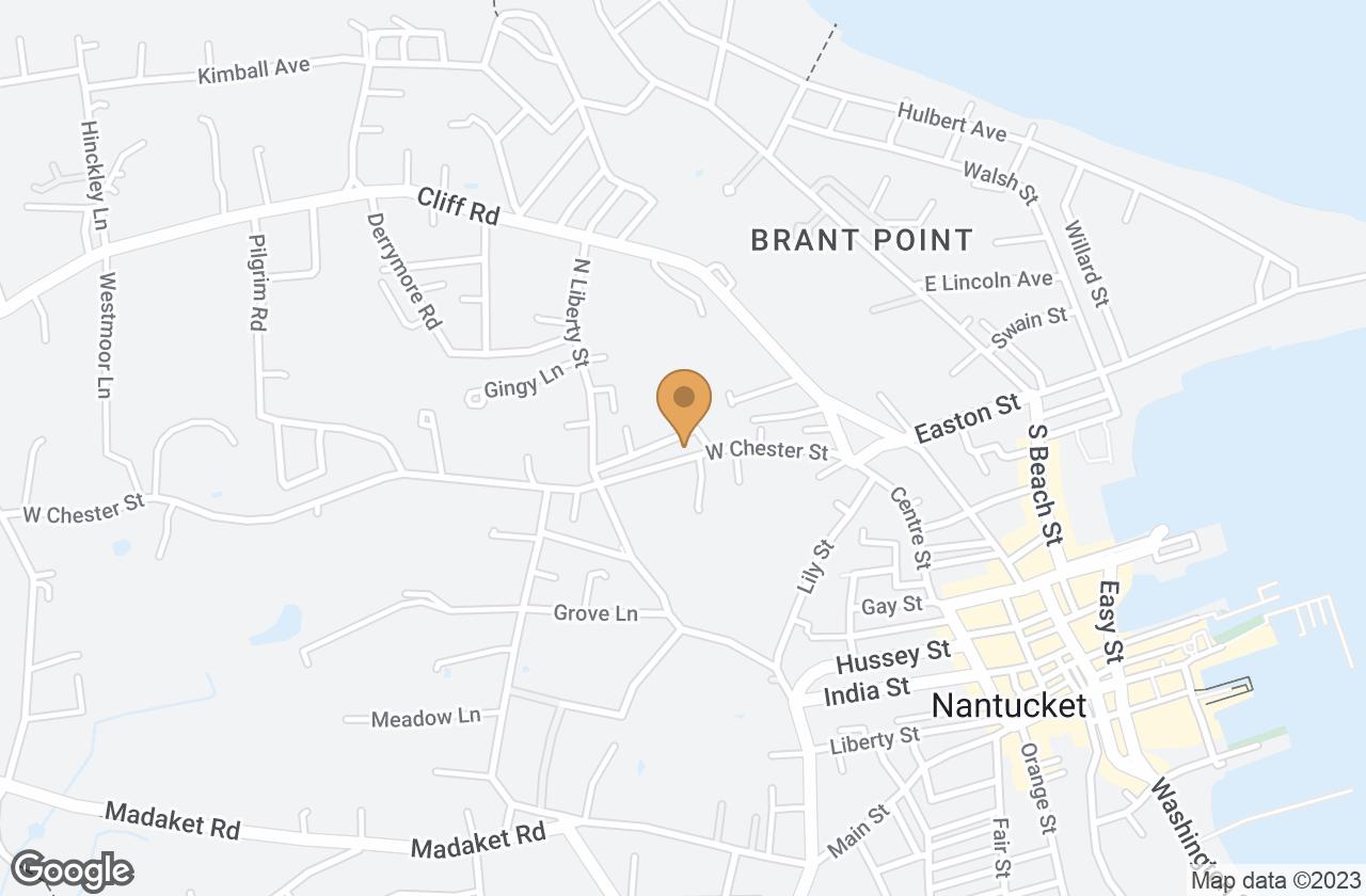 Google Map of 27 West Chester Street, Nantucket, MA, USA