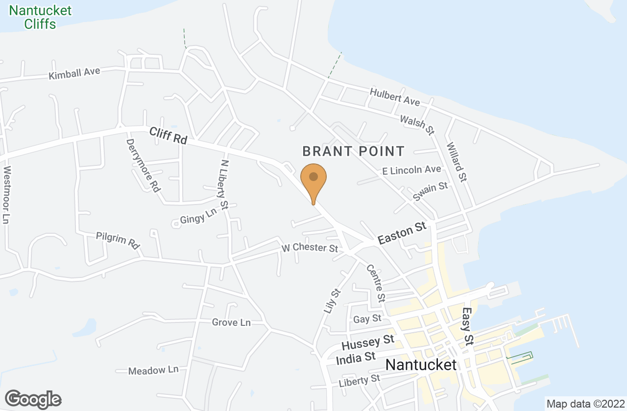 Google Map of 22 Cliff Road, Nantucket, MA, USA
