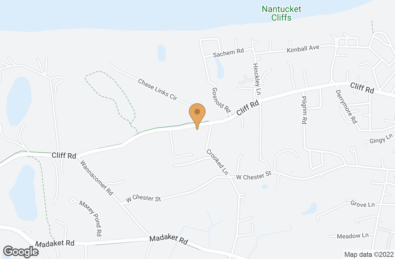 Google Map of 140 Cliff Road, Nantucket, MA, USA