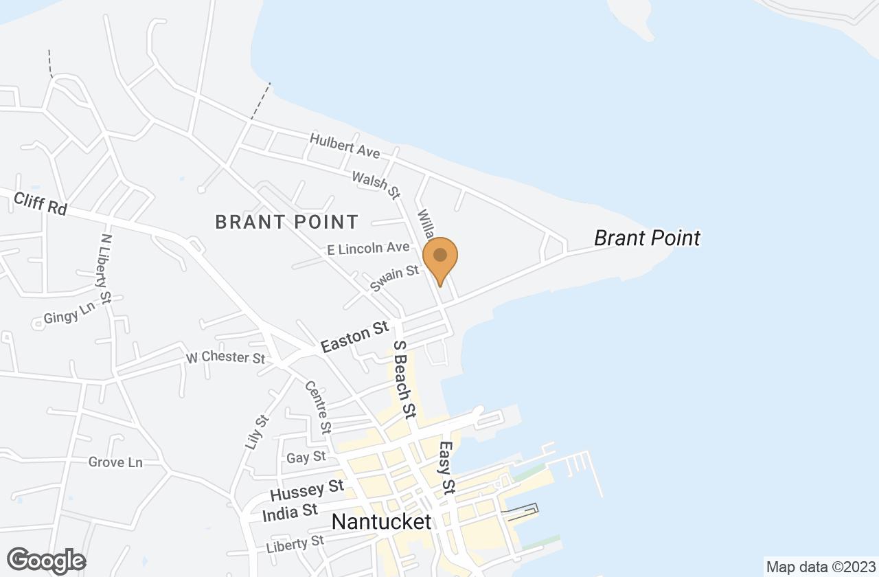Google Map of 1 Walsh Street, Nantucket, MA, USA