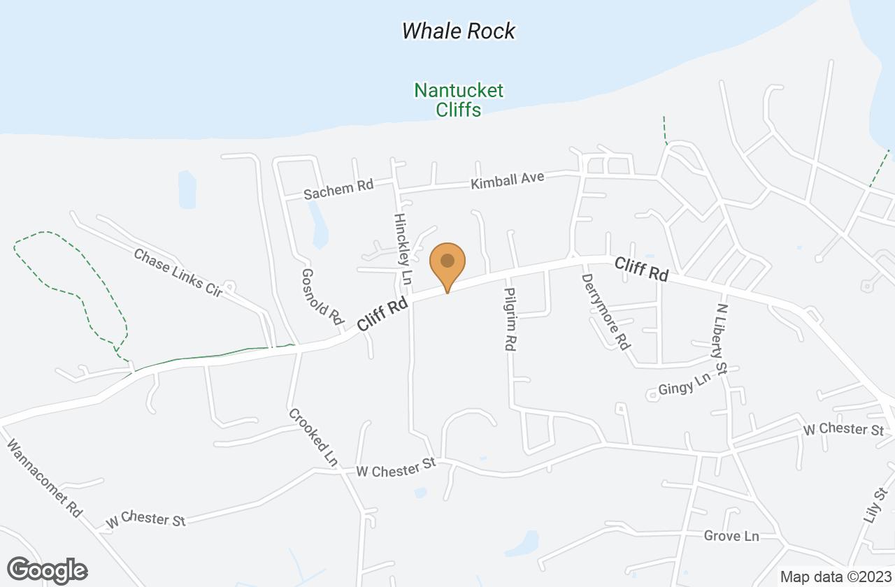 Google Map of 106 Cliff Road, Nantucket, MA, USA