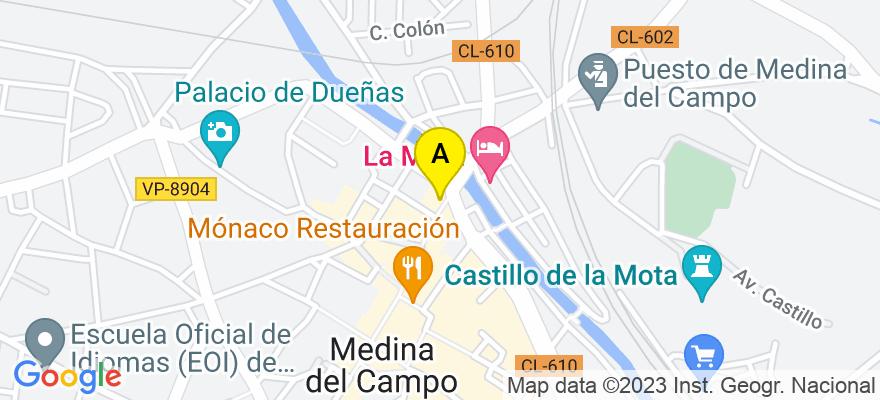 situacion en el mapa de . Direccion: Calle Padilla 35, 47400 Medina del Campo. Valladolid