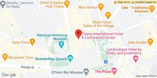 Google Map of Tirana International Hotel, Sheshi Skënderbej 8, Tirana, Αλβανία
