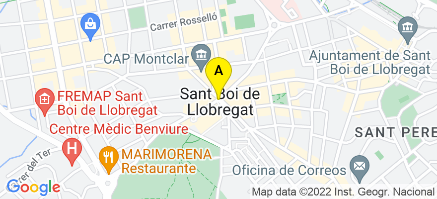 situacion en el mapa de . Direccion: Joan Salvat i Papasseit, 56 baix1ª, 08830 Sant Boi de Llobregat. Barcelona