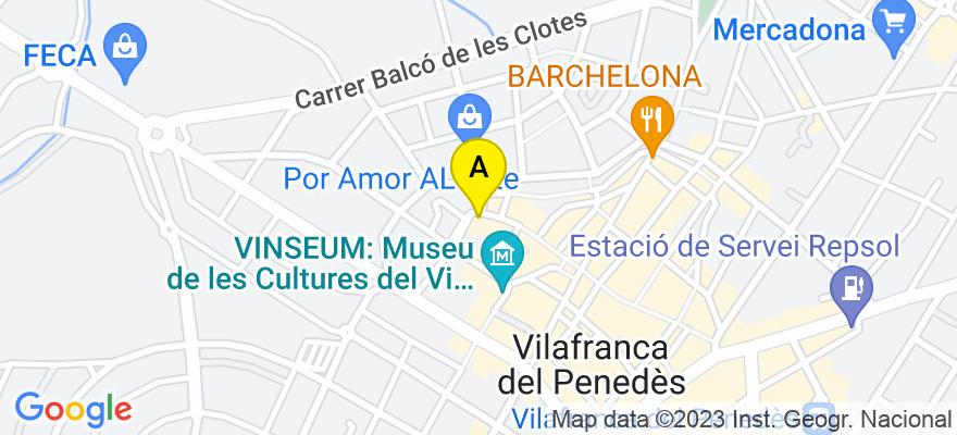 situacion en el mapa de . Direccion: Passeig del Camp dels Rolls nº9, Pl1ª, Desp. 13, 08720 Vilafranca del Penedès. Barcelona