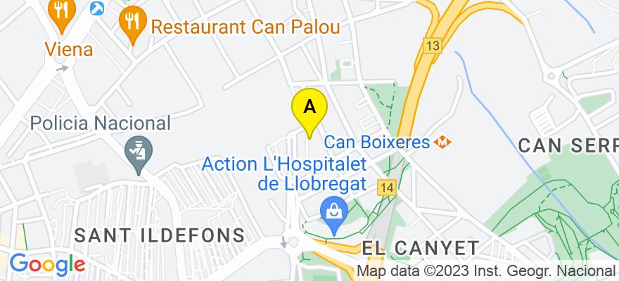 situacion en el mapa de . Direccion: PASAJE LLUNAS, 13, 08906 L'Hospitalet de Llobregat. Barcelona