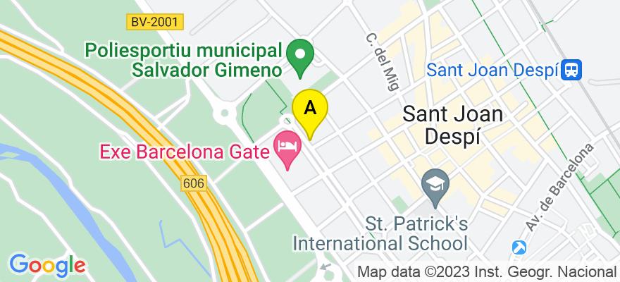 situacion en el mapa de . Direccion: Rambla Josep Maria Jujol 54 bajos 1ª, 08970 Sant Joan Despí. Barcelona