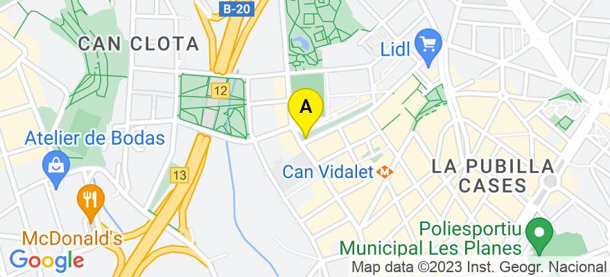 situacion en el mapa de . Direccion: Verge de la Merce, 1, 08950 Esplugues de Llobregat. Barcelona