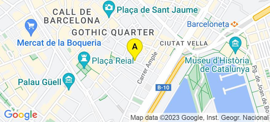 situacion en el mapa de . Direccion: calle avinyo 33, 08002 Barcelona. Barcelona