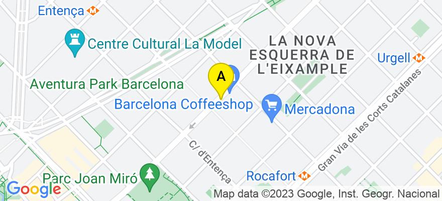 situacion en el mapa de . Direccion: c/ Aragon 259, ent 1º A, 08007 Barcelona. Barcelona