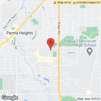 Map of Family First Vision Care - Parma at 7855 W. Ridgewood Drive, Parma, OH 44129