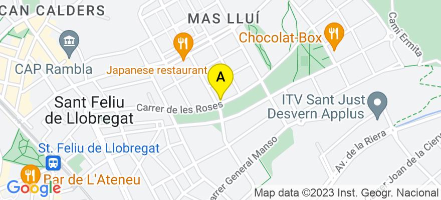situacion en el mapa de . Direccion: Calle Roses, 83, 08980 Sant Feliu de Llobregat. Barcelona