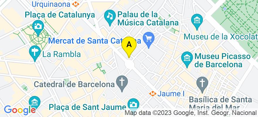 situacion en el mapa de . Direccion: Via Laietana 36 7º 1ª, 08003 Barcelona. Barcelona