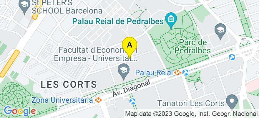 situacion en el mapa de . Direccion: C/ Trias i Giró 21 Bajos 3ª, 08034 Barcelona. Barcelona