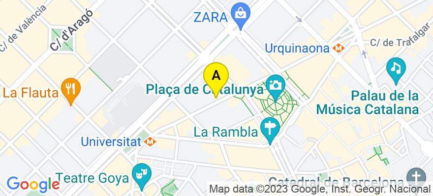 situacion en el mapa de . Direccion: Ronda Universidad 33, 2, 2, 08007 Barcelona. Barcelona