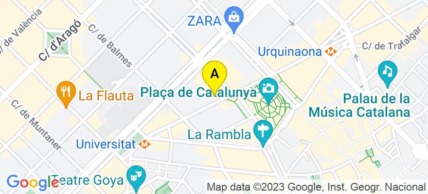 situacion en el mapa de . Direccion: Casanova nº 101, 1º 2ª, 08011 Barcelona. Barcelona