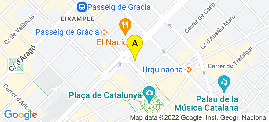 situacion en el mapa de . Direccion: Passeig de Gràcia, 12-1, 08007 Barcelona. Barcelona
