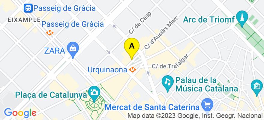 situacion en el mapa de . Direccion: plaza urquinaona, 3, 2º 3ª, 08010 Barcelona. Barcelona