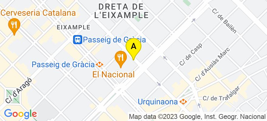 situacion en el mapa de . Direccion: calle Pau Claris  97 4º , 1ª, 08009 Barcelona. Barcelona