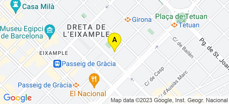 situacion en el mapa de . Direccion: Diputación 305, 4º 4ª A, 08009 Barcelona. Barcelona
