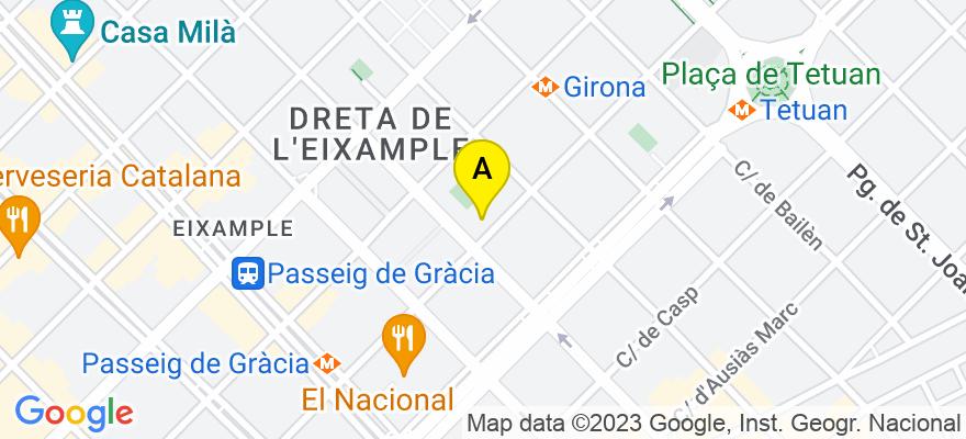 situacion en el mapa de . Direccion: Diputació 305 1º 1ª, 08009 Barcelona. Barcelona