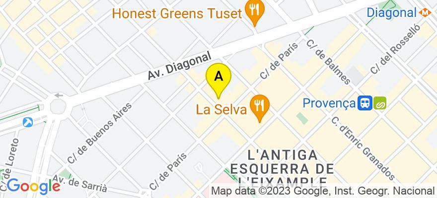situacion en el mapa de . Direccion: Muntaner, 200, 4º 1ª, 08036 Barcelona. Barcelona