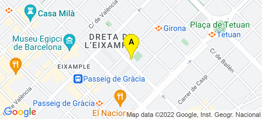 situacion en el mapa de . Direccion: Roger de Lluria 56, 08009 Barcelona. Barcelona