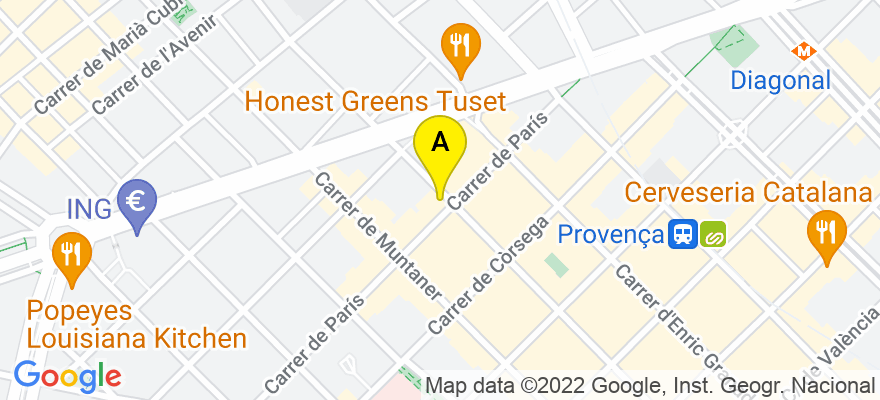 situacion en el mapa de . Direccion: Aribau, 169-4º, 08036 Barcelona. Barcelona