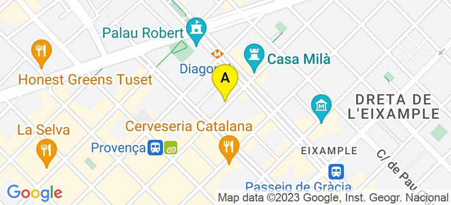situacion en el mapa de . Direccion: c/ Provença 249 6º 3ª, 08008 Barcelona. Barcelona