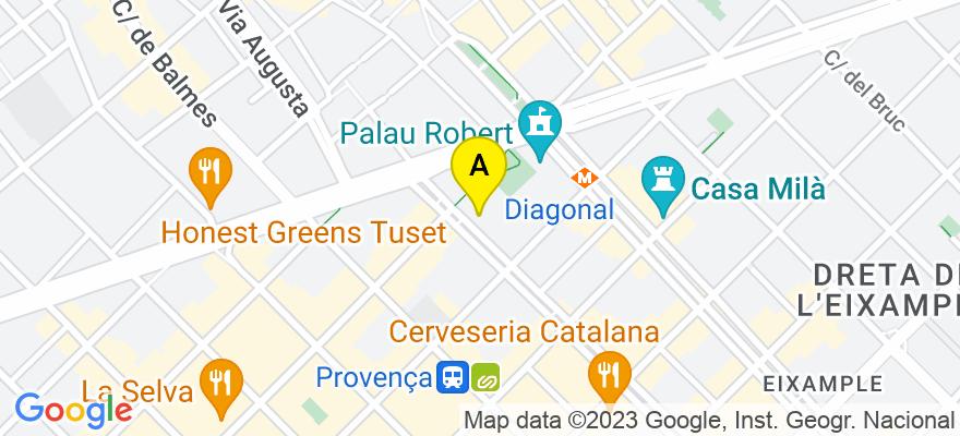 situacion en el mapa de . Direccion: Rambla Catalunya, 122, 1º 1ª, 08008 Barcelona. Barcelona