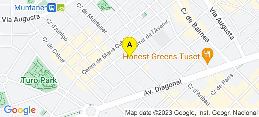 situacion en el mapa de . Direccion: C/Muntaner 269, 5è 1a, 08021 Barcelona. Barcelona