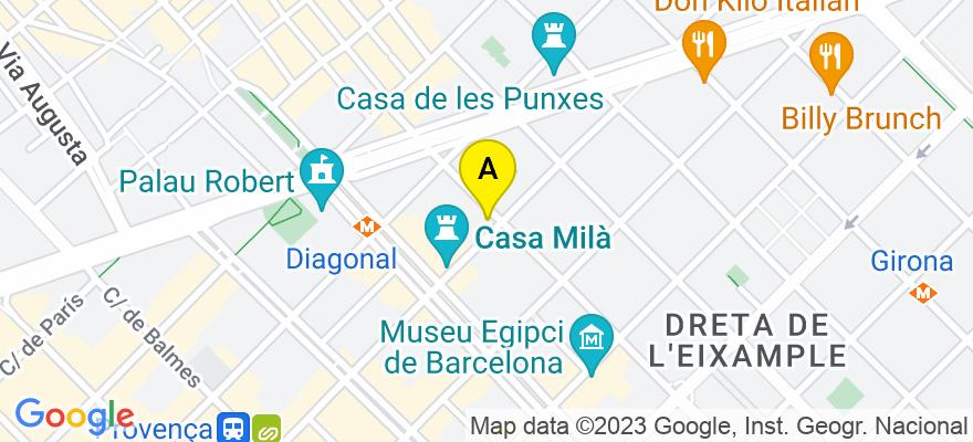 situacion en el mapa de . Direccion: CALLE PAU CLARIS 171 2-1, 08037 Barcelona. Barcelona