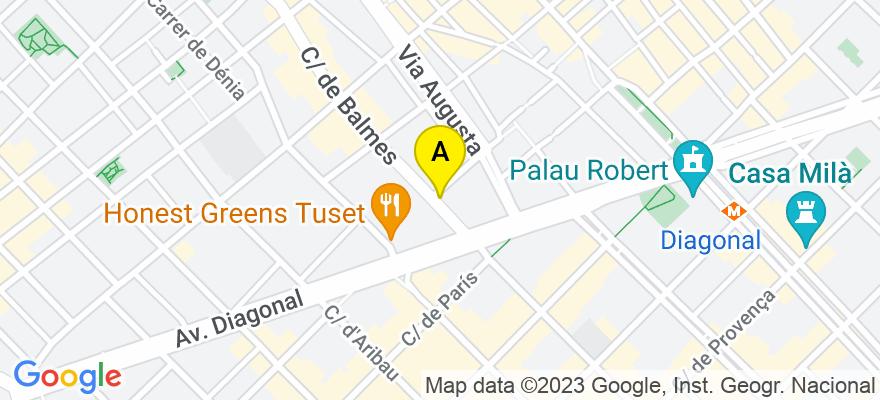 situacion en el mapa de . Direccion: Calle Balmes 176 1º 1ª, 08006 Barcelona. Barcelona