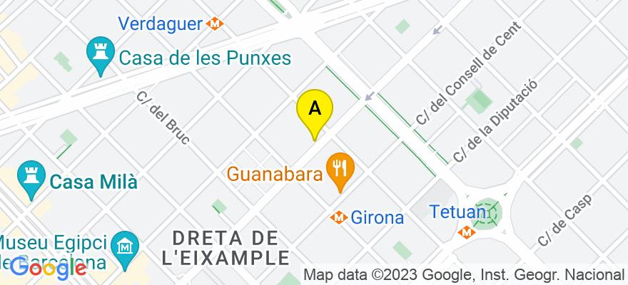 situacion en el mapa de . Direccion: C/ Aragó 335 1r, 08009 Barcelona. Barcelona