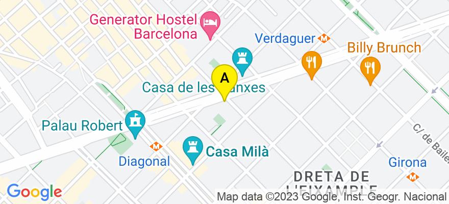 situacion en el mapa de . Direccion: Avda. Diagonal, 361, 4t 2a., 08037 Barcelona. Barcelona