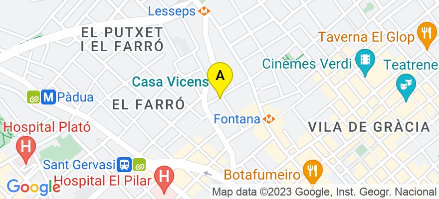 situacion en el mapa de . Direccion: C/ de les Carolines, 19, Bajos, 08012 Barcelona. Barcelona